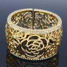 Hi-Quality Gold Tone Flower Bracelet Bangle W/ Clear Swarovski Crystals 181103