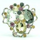 Cute Rhinestone Crystal Mix Cloud Flower Brooch Pin Women Spring Jewelry 6457