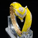 Fabulous Yellow Enamel Clear Rhinestone Crystals Fox Bracelet Bangle Cuff 2073