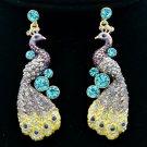 Purple Rhinestone Crystals Animal Peafowl Peacock Drop Earring FA3185