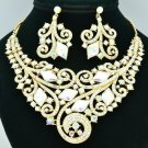 Fabulous Coil Flower Necklace Earring Sets Clear A/B Rhinestone Crystals 00617
