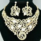 Wedding Bridal Coil Flower Necklace Earring Sets Clear Rhinestone Crystals 00617