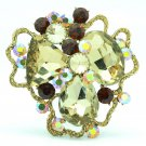 Brown Cloud Flower Brooch Broach Pin Women's Jewelry Rhinestone Crystals 6457