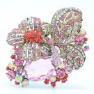VTG Style Animal Pink Flower Butterfly Brooch Pin W/ Rhinestone Crystals 6407
