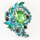 "Glaring Chic Green Flower Brooch Broach Costume Pin 3.1"" Rhinestone Crystal 4883"