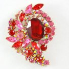 "Vivid Women Party Red Oval Flower Brooch Broach Pin 3.1"" Rhinestone Crystal 4883"
