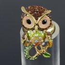 Animal Bird Cute Brown Owl Cocktail Ring Adjustable Swarovski Crystals SR1894A-1
