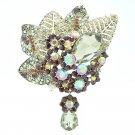 Glitzy Brown Rhinestone Crystals Leaves Flower Brooch Broach Pins for Women 6408