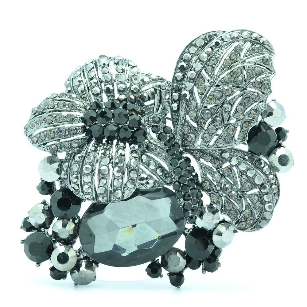 Cute Black Butterfly Flower Brooch Broach Pins Rhinestone Crystals Animals 6407