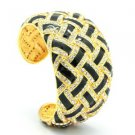 Swarovski Crystal Black Enamel Bracelet Bangle Cuff For Women's Jewelry SKA1942M