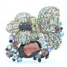 Rhinestone Crystal Delicate Lovely Purple Flower Butterfly Brooch Pin Women 6407