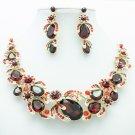 Red Rhinestone Crystal Drop Leaf Flower Fruit Necklace Earring Jewelry Sets 5396