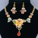 Multi Flower Butterfly Necklace Earring Sets with Mix Swarovski Crystals Enamel
