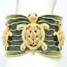 Yellow Enamel Swarovski Crystals Turtle Tortoise Bracelet Cuff Jewelry 1986M