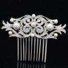 Smart Bridal Wedding Pearl Flower Hair Comb Headband Rhinestone Crystals 1458R
