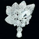 Brilliant Clear Rhinestone Crystals Teardrop Leaf Flower Brooch Pin Wedding 6408