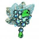 Vogue Green Rhinestone Crystals Pendant Leaf Flower Brooch Broach Pin 6408