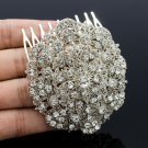 Clear Rhinestone Crystals Charm Flower Hair Comb Headband Wedding Jewelry 3808FS