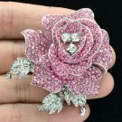 "Pretty Pink Rhinestone Crystals Rose Flower Brooch Pin Party Jewelry 2.1"" FB1077"