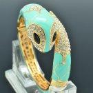 Noble Animal Green Enamel Snake Bracelet Bangle Swarovski Crystals SKCA2072L-3