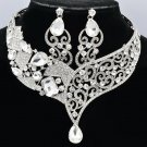 Bridal Rhinestone Crystal Coil Drop Flower Necklace Earring Jewelry Set 5103