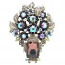 Oblong Rhinestone Crystal Excellent Purple Floral Flower Brooch Pin Pendant 6411