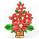 Art Deco Red Christmas Tree Brooch Pin Enamel Jewelry Rhinestone Crystals 0641