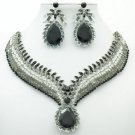 Black Rhinestone Crystals Drop Leaf Flower Necklace Earring Jewelry Set  05804