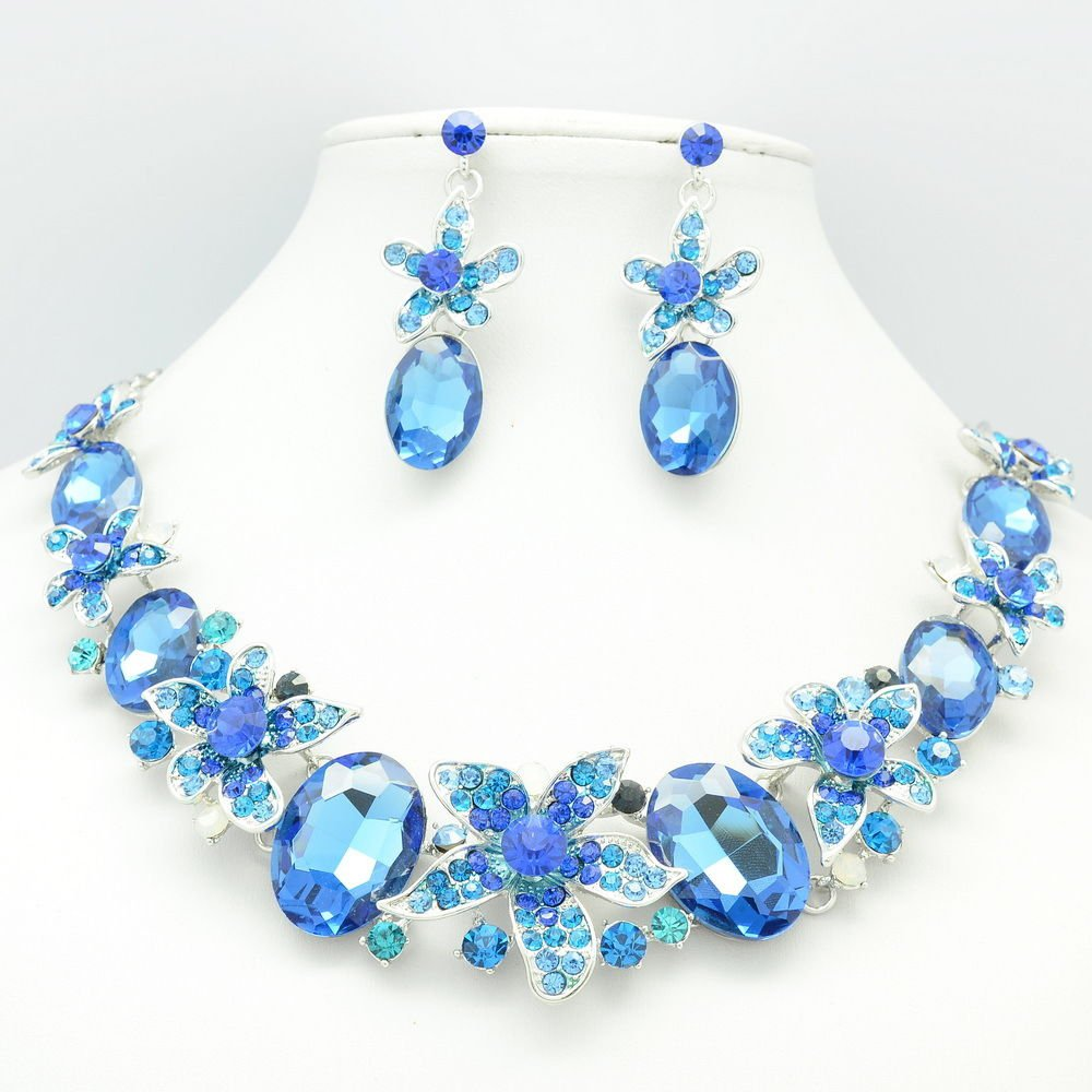 Blue Oval Rhinestone Crystals Vogue Pretty Flower Necklace Earrings Set 05397