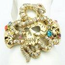 Especial Vogue Snake Skull Bracelet Bangle Cuff W/ Mix Rhinestone Crystals 1929