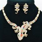 Mix Rhinestone Crystals Gecko Lizard  Necklace Earring Set Women Jewelry FA3274
