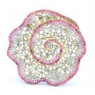 "Vintage Style Popular Pink Flower Brooch Broach Pin 2.6"" Rhinestone Crystal 5846"