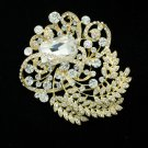 Graceful Leaf Brooch Broach Hat Pin Rhinestone Crystals Women Party Jewelry 4886