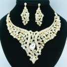 Drop Rhinestone Crystals Clear Snake Flower Necklace Earring Jewelry Set 02621