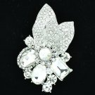 Wonderful Clear Rhinestone Crystals Floral Leaf Pendant Brooch Pin Wedding 6416