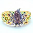 Beautiful Purple Flower Gold Tone Bracelet Bangle W/ Mix Rhinestone Crystals