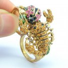 Pretty Pink Ladybug Scorpion Cocktail Ring Sz 7# W/ Rhinestone Crystals SR2109-1