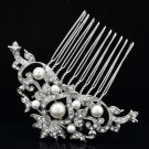 Bridal Prom Flower Hair Comb Jewelry Clear Rhinestone Crystals Faux Pearl 1449R1