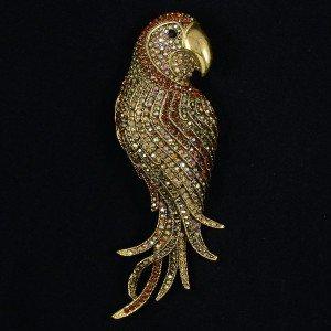 "Vintage Style Rhinestone Crystals Pendant Brown Bird Parrot Brooch Pin 4.7"" 6404"