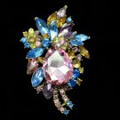 "Chic Multicolor Flower Pendant Brooch Pin Jewelry 2.9"" Rhinestone Crystal 4997"