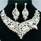 Fashion Clear Rhinestone Crystal Oval Flower Necklace Earrings Set Wedding 00577
