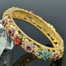 Colorful Rhinestone Crystals Purple Flower Ladybug Bracelet Bangle SKCA1404M
