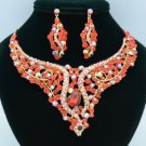 Red Rhinestone Crystal Drop Snake Flower Necklace Earring Jewelry Set Prom 02621