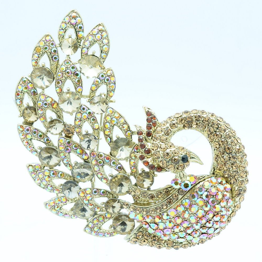 """Fabulous Animal Brown Rhinestone Crystals Feather Peacock Brooch Pin 3.7"""" 6021"""