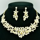 Wedding Bride Flower Necklace Earring Jewelry Sets Clear Rhinestone Crystal 6155