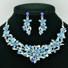 New Design Blue Flower Necklace Earring Jewelry Sets Rhinestone Crystals 6155