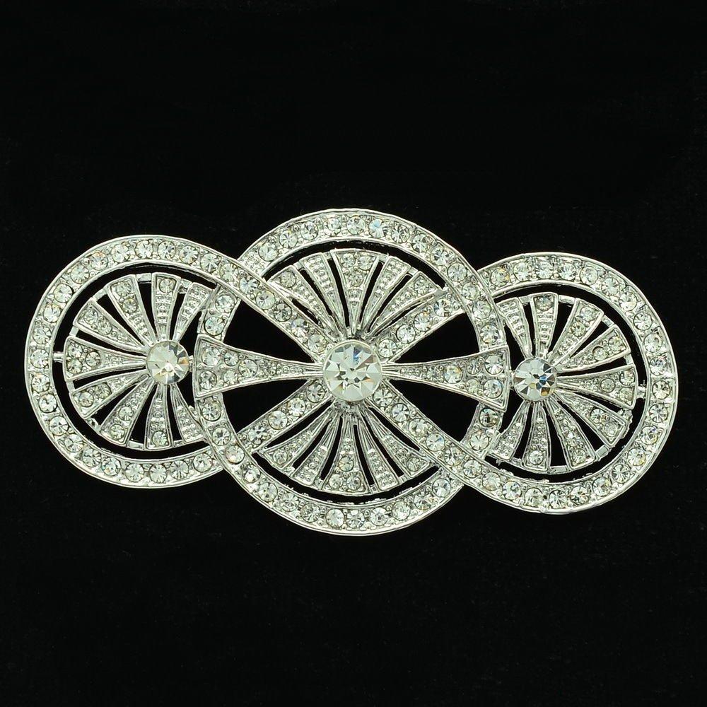 Rhinestone Crystals Sliver Tone Triple Round Flower Brooch Broach Bridal XBY067