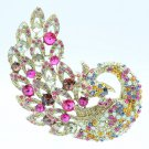 "Beautiful Mix Rhinestone Crystals Feather Peacock Animal Brooch Pin 3.7"" 6021"