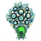 Wonderful Green Flower Brooch Pin Pendant Oblong Rhinestone Crystal Jewelry 6411