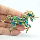 "Glaring Green Rhinestone Crystals Unicorn Horse Brooch Broach Pin 3.3"" 6172"